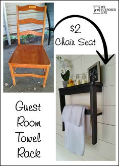 How to make a guest room towel rack shelf using an old chair. MyRepurposedLife.com