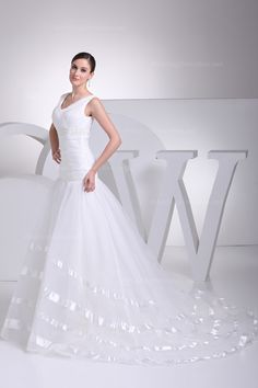 V-neck dropped waist organza #Wedding#Dress with lace-up back