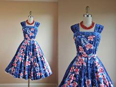 1950s Dress - Vintage 50s Hawaiian Dress - Cotton Kamehameha Halter Sundress S - Dune Flowers on Etsy, $395.45 CAD