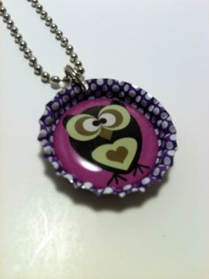 Purple Owl Bottle cap Necklace by LillypadPark on Etsy, $4.95