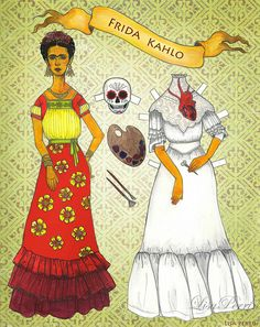Frida Kahlo paper doll by LisaPerrinArt, via Flickr