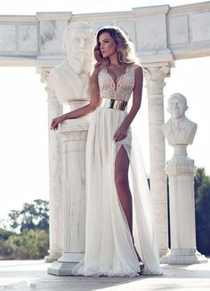 Sexy White/Ivory V-Neck Beaded Bridal Beach Gown Wedding Dress Size Custom Made
