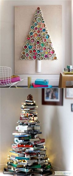 christmas decor ideas 18 Unconventional and beautiful DIY Christmas trees : ideas to create unique Christmas decorations for your home, perfect for any space in your home! - A Piece Of Rainbow christmas decorations, christmas tree ideas farmhouse decor, Noel Christmas, Christmas Projects, All Things Christmas, Holiday Crafts, Christmas Ornaments, Simple Christmas, Christmas Tree Ideas For Small Spaces, Homemade Christmas, Christmas Tree Top Ideas