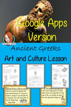 Distance Learning Ancient Greeks Art and Culture Complete History Lesson Teach children about Ancient Greeks and their art and culture. This download is a complete lesson to teach children about the different art and culture of the Ancient Greeks. detailed 29 slide PowerPoint and 4 versions of the 6-page worksheet to show understanding an activity #lessonplanning #ancientGreeks #Greeks #teaching #resources #historylessons #historyplanning #googleclassroom Teaching History, Teaching Kids, Classroom Resources, Teaching Resources, Ancient Greek Art, Google Classroom, Greeks, Amazing Art, Distance
