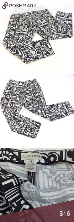 Andre Oliver black  and white abstract ankle pants Andre Oliver black  and white abstract ankle pants with side zipper, size 4. Made of 56% cotton and 44% polyester. Measurements waist 30 inches inseam 27 inches rise 10 1/4 inches, all measurements are appropriate. GUC Andre Oliver black & white abstract ankle pants. Cruise wear Andre Oliver Pants Ankle & Cropped