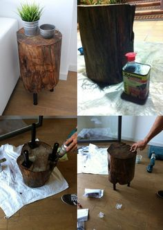 mesita de tronco