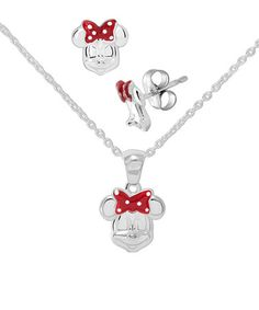 Look at this #zulilyfind! Sterling Silver Minnie Mouse Stud Earrings & Necklace Set #zulilyfinds