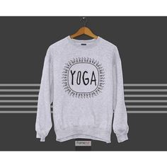 Crewneck Sweatshirt Motivational Workout Yoga Typographic Quote... (3,110 INR) ❤ liked on Polyvore featuring activewear and yoga activewear