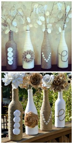 Twine Wrapped Wine Bottle Vases | DIY Cozy Home Get paid to play on Pinterest http://amycaza.ws