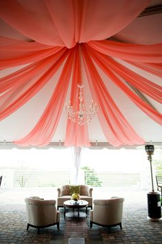 Coral Tent Draping  I Designed by Engaging Events I Charleston SC Wedding Planner