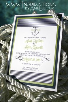Nautical Wedding Invitations by InspirationsbyAmieLe on Etsy. $50.00, via Etsy.