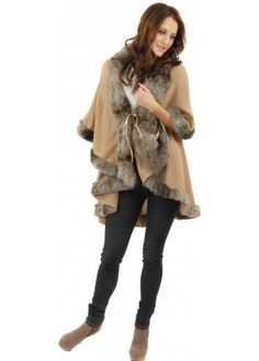 Designer Desirables Camel Double Layered Poncho With Tonal Faux Fur