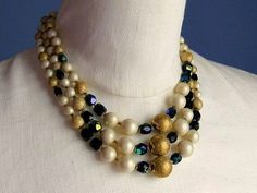Man Men Style Triple Strand Necklace.