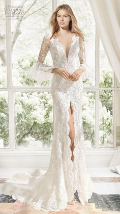 rosa clara 2019 couture bridal long sleeves deep v neck full embellishment slit skirt elegant sheath wedding dress sheer button back chapel train mv -- Rosa Clará Couture 2019 Wedding Dresses Sheer Wedding Dress, Western Wedding Dresses, Wedding Dresses Photos, Lace Mermaid Wedding Dress, Perfect Wedding Dress, Mermaid Dresses, Bridal Dresses, Wedding Gowns, Wedding Dress Crafts