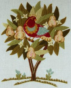 Partridge in a Pear Tree Crewel Kit from Custom House: This Crewel Embroidery Kit designed by Blanche Virgien includes a pre-printed 100% linen canvas, yarn and needles as well as detailed instructions.  Finished size 14-inches x 16-inches.  Please note:  embroidery hoop is not included.   $30.00