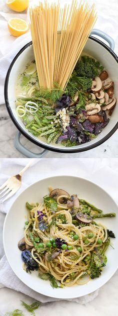 One-Pot Skinny Pasta Primavera by Foodiecrush creamy but light and totally swimsuit friendly, skip parmesan cheese to make vegan Pasta Recipes, Dinner Recipes, Cooking Recipes, Soup Recipes, Skinny Pasta, Clean Eating, Healthy Eating, Pasta Primavera, Vegetarian Recipes