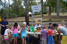 Kids love the kids activity table at the Australian National Botanic Gardens Summer Sounds concerts - run by the Friends of the Gardens.