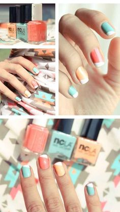 I love the color combo. 28 Colorful Nail Art Designs That Scream Summer!
