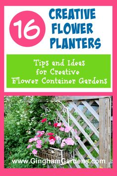 Stop by Gingham Gardens and get some super cute and creative flower container ideas, plus learn how to take care of your container gardens. Includes ideas for both flower planters for shade and flower planters for sun. Using junk for flower pots. Planters For Shade, Flower Planters, Flower Pots, Rustic Garden Decor, Vintage Garden Decor, Small Backyard Gardens, Small Space Gardening, Flowers Perennials, Planting Flowers