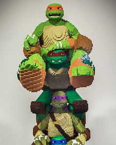 THR  Check out this totally radical life size LEGO build featuring the Teenage  Mutant Ninja Turtles! It took the LEGO master builders 400 hours to put  this sucker together, and it stands about six-feet, five-inches tall.  This is just one of several LEGO sculptures that will be on display at  Comic-Con this year. Some of the others include life-size versions of  Robert Downey Jr. as Iron Man, Henry Cavill as Superman, and more. We'll  get some photos of those for you later on, so stay…