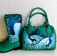 Peacock boots and matching handbag.