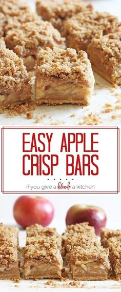 The apple crisp bars are so easy to make and the crumble is delicious! A must-tr… The apple crisp bars are so easy to make and the crumble is delicious! A must-try fall dessert recipe. Apple Dessert Recipes, Apple Crisp Recipes, Just Desserts, Baking Recipes, Easy Apple Desserts, Apple Crisp Bars Recipe, Apple Deserts, Brownie Desserts, Easy Desserts To Bake
