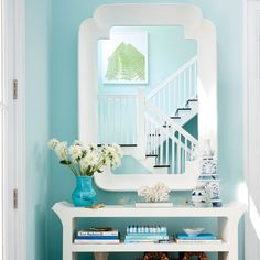 Foyer - 2016 Hamptons Showhouse Photo Tour - Coastal Living SPRING SKY BY BENJAMIN MOORE
