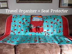 Pickup Some Creativity: Travel Organizer & Seat Protector. Full back car seat cover and organizer Sewing Tutorials, Sewing Crafts, Sewing Projects, Sewing Patterns, Sewing Ideas, Sewing Tips, Craft Projects, Diy Crafts, Back Seat Car Covers