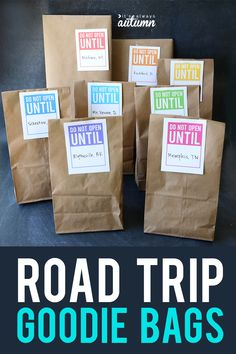 Count down a long car ride with road trip goodie bags! Let kids open one each hour to make the trip more fun. Click through for 30 things to put inside them. #itsalwaysautumn #roadtrip #summerfun #roadtripwithkids