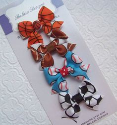 Boutique All Sports Petite Bow Set by Balasadesigns on Etsy