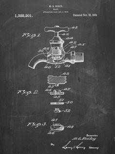 Faucet Patent Print - Patent Poster - Spigot- Faucet Patent - Faux Vintage