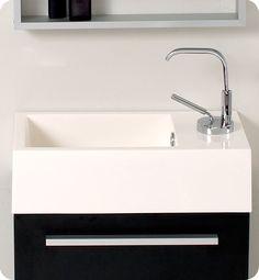 Fresca Pulito Small Modern Bathroom Vanity with Tall Mirror in Teak Small Bathroom Vanities, Single Bathroom Vanity, Bathroom Faucets, Modern Bathroom, Bathrooms, Bathroom Stuff, Bath Vanities, Utility Room Designs, Tall Mirror