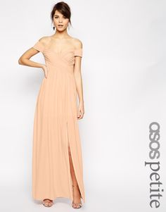 Image 1 ofASOS PETITE Bardot Ruched Maxi Dress