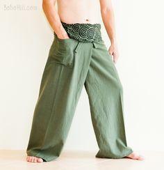 Premium Cotton Fisherman Pants Japanese Curly Pattern Wrap-around Waist Yoga Plain Unisex Trousers (SOL-Green) Thai Fisherman Pants, Harem Pants, Trousers, Parachute Pants, Japanese, Unisex, Cotton, How To Wear, Curly