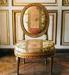 This gilded-walnut chair was delivered in 1769 for a lady-in-waiting to the Comtesse du Barry, Louis XV's mistress.  Learn more about 18th Century France at http://leahmariebrownhistoricals.blogspot.com