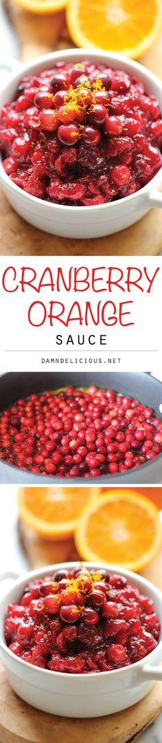 Cranberry Orange Sauce - Skip the canned cranberry sauce and make it right at home. It is embarrassingly easy with just 3 ingredients!
