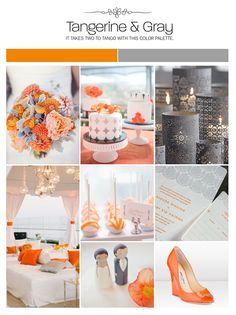 Tangerine, orange and gray inspiration board, wedding ideas, color palette, mood board