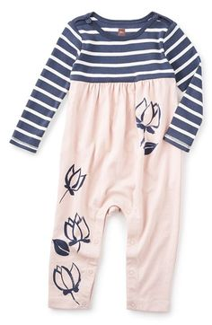 d4fb5b416 Free shipping and returns on Tea Collection 'Lotus' Long Sleeve Romper  (Baby Girls