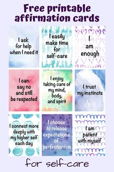 Free Self-Care Ideas for Overwhelmed Moms (plus free printable affirmation cards!) - The Artisan Life - Free printable affirmation cards for moms. Lovely watercolor affirmation cards for moms – no sign - Affirmation Karten, Affirmation Cards, Affirmations For Kids, Affirmations Positives, Art Therapy Activities, Self Care Activities, Counseling Activities, Classroom Activities, Weight Watchers Smoothies