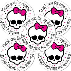 20  2 Inch round Monster High Birthday sticker labels by bafoodle, $6.00