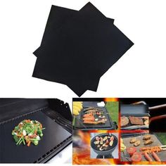 PTFE Non-stick BBQ Grill Mat Barbecue Baking Liners Reusable Teflon Cooking Sheets Cooking Tool. Safe for food, approved by FDA, LFGB and SGS. Non-stick surface is very smooth and easy to clean. Barbecue Grill, Barbecue Sauce, Chef Grill, Food On Sticks, Cooking Sheet, Best Charcoal, Bbq Tools, Copper Kitchen, Cooking Tools