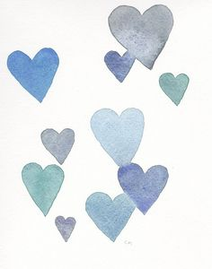 Cool Blues Grays and Greens Heart Watercolor Painting | 8x10 Print