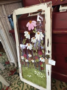 Flowers on glass picture frame Painted Window Panes, Window Pane Art, Old Window Frames, Window Ideas, Antique Windows, Vintage Windows, Old Windows, Vintage Doors, Antique Doors
