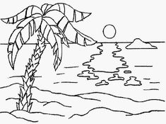 Beach Coloring Pages Idea - Free Coloring Sheets Coloring Pages Nature, Beach Coloring Pages, Tree Coloring Page, Free Coloring Sheets, Coloring Pages To Print, Coloring Book Pages, Coloring Pages For Kids, Unicornios Wallpaper, Beach Watercolor