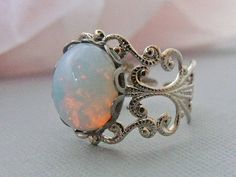 White Glass Opal Ring