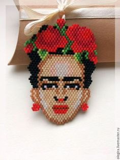 Wall posts Hama Beads, Beaded Earrings, Stuffed Mushrooms, Christmas Ornaments, Holiday Decor, Fictional Characters, Frida Khalo, Art, Recycling