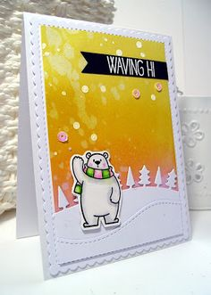 card winter critters bear MFT polar bear pals Die-namics snowdrift hills landscape tree trees sunset winter sky Scrapcolour background distress inked winter sky