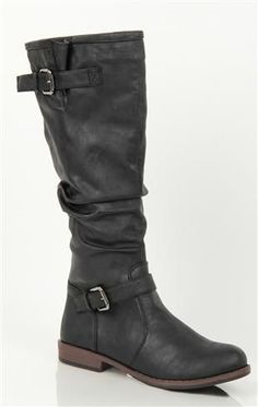 Tall Flat Faux Leather Riding Boot with Buckles At Bottom and Top