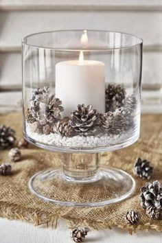 Frosted Pinecones | Bright lights and beautiful. Adding a centerpiece to a table immediately makes it look sophisticated, complete, and beautiful.