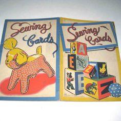 Vintage 1940s Set of Children's Sewing Cards por grandmothersattic, $19.95